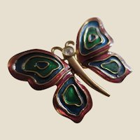 Signed LIA Cloisonné Enamel Abstract Butterfly Pin Brooch in Rust, Blue and Green - Perfect for the Fall