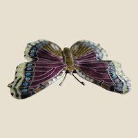 Unusual Enamelled Butterfly Pin Brooch in Purple, Yellow and Blue on a Sterling Silver Base
