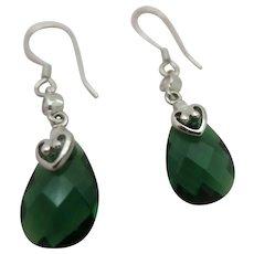 Emerald Green Briolette Crystal and Clear Cubic Zirconia Sterling Drop Pierced Earrings