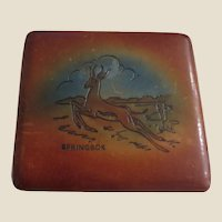 Vintage Tooled Leather-covered Cigarette Case Card Case With A Springbok and A Map of Africa