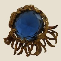 DeMario Sea Anemone-like Huge Blue Stone and Golden Fronds Pin Brooch