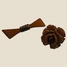 Butterscotch Bakelite Bowtie Brooch and Deeply Carved Butterscotch Bakelite Rose Pendant