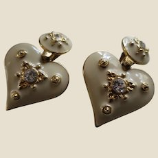 Enamel and Clear CZ Large Heart Pendant Earrings, c. 1980's - Valentine's Day or Any Day