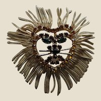 Huge Fringed Lion Head Pin Brooch Pendant, c. 1960's