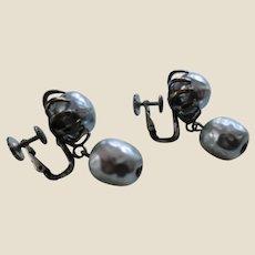 MIRIAM HASKELL Simulated Grey Baroque Pearl Drop Earrings