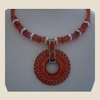 Coral, Pink, Orange, and Tangerine Bead and Enamel Circle Pendant Choker Necklace