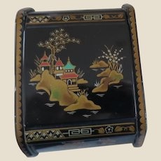 Vintage 6MB British Black Metal Chinoiserie Japonaiserie Jewellery Trinket Cigarette Box