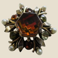 Small Florenza Simulated Topaz, Peridot, Citrine and Pearl Pin Brooch - Perfect for Dolls