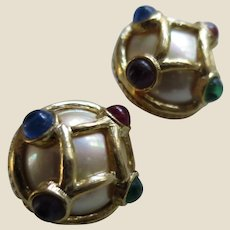 Vintage Carolee Simulated Pearl and Jeweltone Cabochon Earrings, c. 1980's