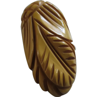 Fabulous Vintage Leaves and Cross-Hatch Flower Deeply Carved Butterscotch Bakelite Clip, c. 1930's