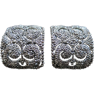 Superior Antique Cut Steel Shoe Buckles, Made in France