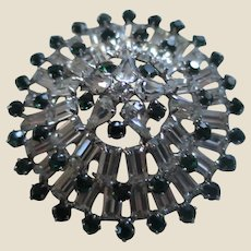 Beautiful Vintage Domed Pin Brooch with Simulated Diamonds and Emeralds, c. 1950's