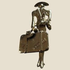Power Woman with Big Shoulders Jacket, Hat, Poodle, Suitcase Large Figural Pin Brooch