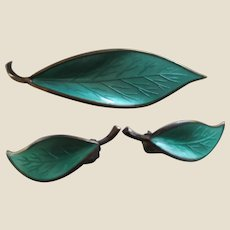 Summery Green Enamel and Sterling Silver Vermeil David Andersen, Norway Leaf Pin Brooch and Matching Clip-on Earrings, c. 1950's