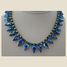Electric Blue Teardrop Rhinestone Choker Necklace in Marvella Gift Box, , c. 1950s