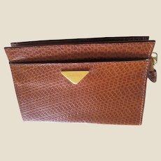 CARLO RINO Vintage Faux Croc Brown Leather Unisex Bag Purse Clutch