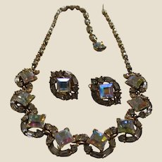 Beautiful BOGOFF Aurora Borealis (AB) and Clear Rhinestone Choker Necklace and Earrings Set