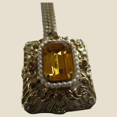Pegasus Coro Faux Topaz and Pearl Intricate Pendant Necklace