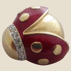 Stylish Red Enamel and Rhinestone Fat Ladybug Ladybird Brooch Pin