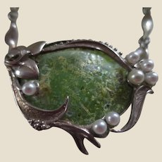 Signed Sterling Silver, Art Glass, and Simulated Pearls Handmade Necklace