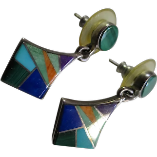 Beautiful Earl Plummer Navajo Sterling Silver and Natural Stone Inlay Pendant Pierced Earrings