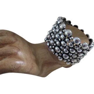 Silvertone Wide Stretchy Pebble Cuff Bracelet