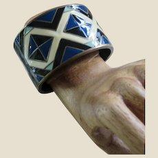 Lee Angel Geometric Hinged Cuff Enamel Bracelet by Roxanne Assoulin