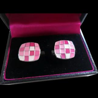 Paul Smith Designer Pink Mosaic Enamel Cufflinks, England c. 1980's, in Original Box