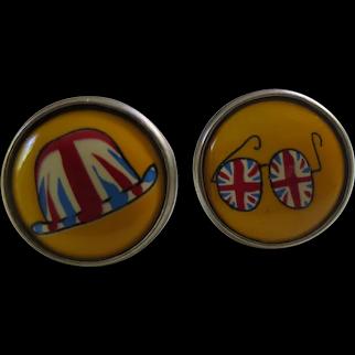Paul Smith Designer Union Jack Motif Cufflinks, England c. 1980's, in Original Box