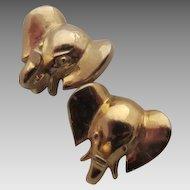 Mimi di N Gold Plated Elephant Head Pierced Earrings, 1978