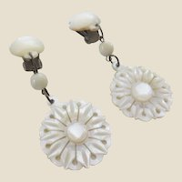 Pretty Carved Mother of Pearl Pendant Earrings - Wedding Idea