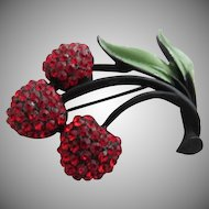 Luscious Red Rhinestone Raspberries & Green Enamel Leaves J.J. Pin