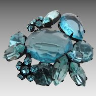 Incredible Large Turquoise Rhinestones in a Japanned Setting Brooch