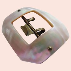Victorian Luminous Mother of Pearl Octagonal Buckle