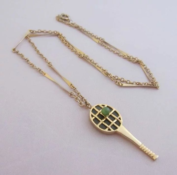 Jade gold plated tennis racquet pendant necklace sold ruby lane jade amp gold plated tennis racquet pendant necklace aloadofball Choice Image