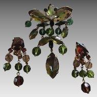 Fabulous AUSTRIA Specialty Stones Dangling Brooch & Earrings