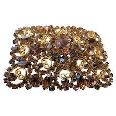 Sensational Juliana (D&E) Topaz Rhinestone and Gold Plated Huge Filigree Belt Buckle