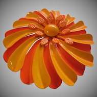 Large 1960's Enamel Flower Pin - Orange and Tangerine