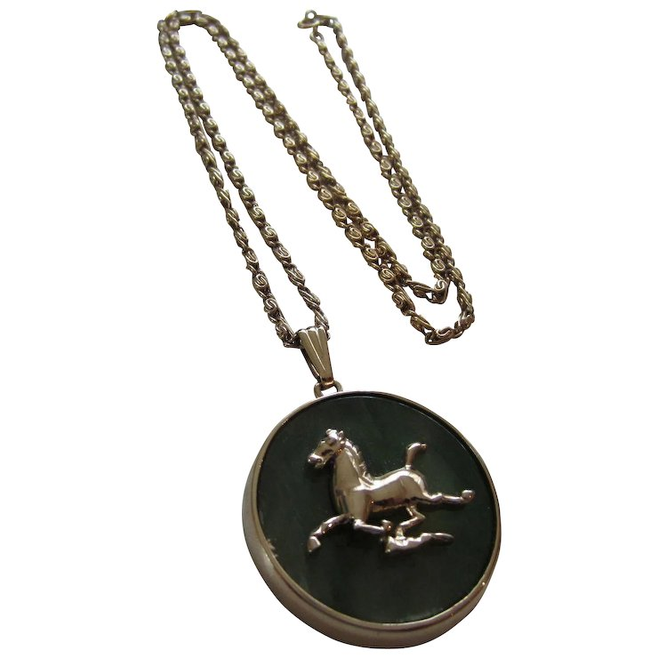 Jade gold plated horse pendant necklace red tag sale item sold jade gold plated horse pendant necklace red tag sale item aloadofball Gallery