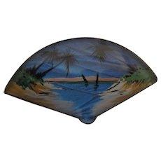 T.L.M. (Thomas L. Mott) Sterling Reverse Painted Butterfly Wing Fan-shaped Tropical Scene Pin, c. 1920's-1930's