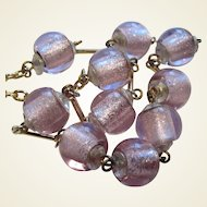 Lovely Lavender Foiled Glass Necklace