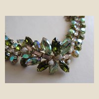 ALICE CAVINESS Wonderful Chunky Green Rhinestone Cocktail Bracelet