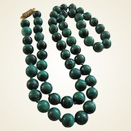 Beautiful Deep Green Malachite Hand Knotted 59 Beads Necklace