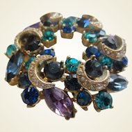 SPHINX, England Large Colourful Mounded Crystal Wreath Brooch