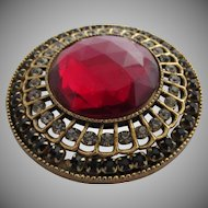 Huge Red Faceted Stone, Clear and Black Rhinestones Pin/Pendant