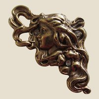 Art Nouveau Style Girl with Flowing Hair Brooch