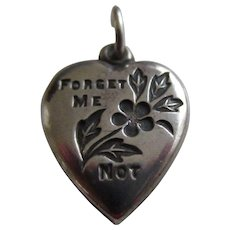 Sterling Silver FORGET ME NOT Puffy Heart Charm
