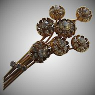 Exquisite KRAMER Simulated Diamond Flower Spray Large Brooch, c. 1950
