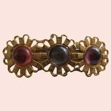 Large Goldtone and Lucite Cabs Barrette, c. 1970's-1980's