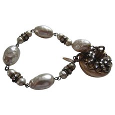 Signed Miriam Haskell Baroque Pearl and Roses Montées Pendant Drop Bracelet